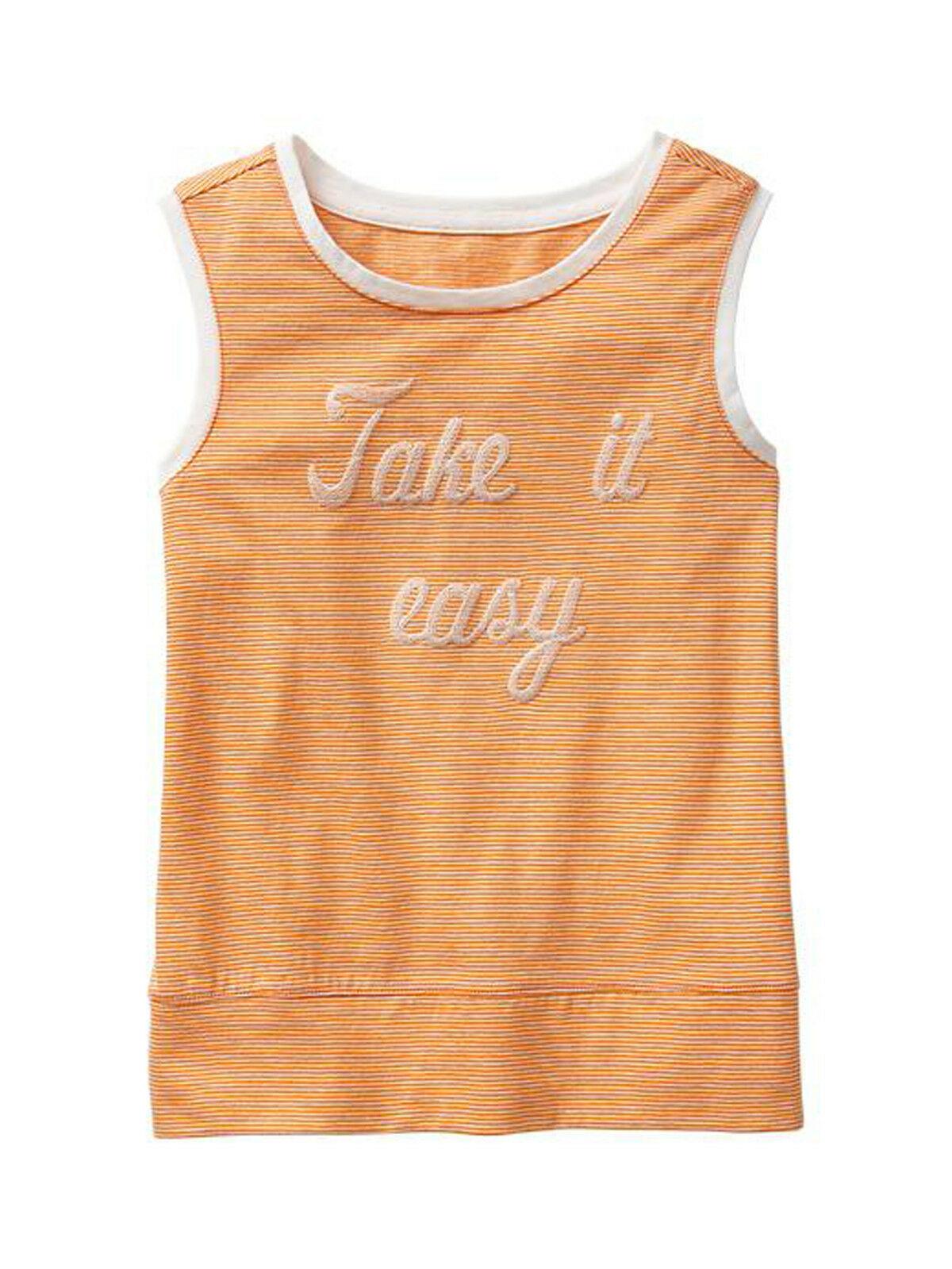 GAP Kids Girls Tank Top Sz  XL 12 Graphic Orange Thin Stripe Sleeveless Trim New