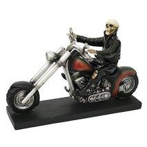 Cool Skeleton Biker Statue Polyresin Figurine Home Decor - $36.62