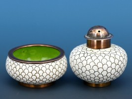 Vintage Open Salt Dip Cellar Chinese Cloisonne White Enamel on Copper Fishscale image 1