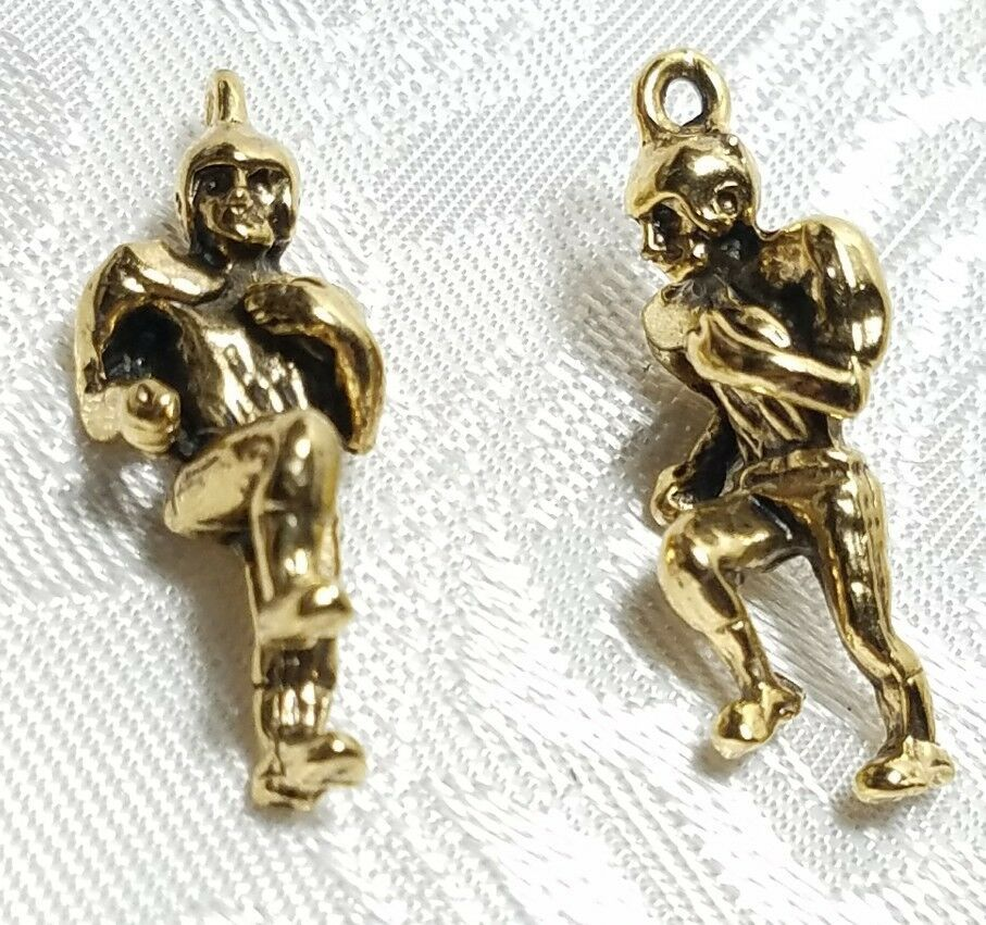 Football Player FINE PEWTER PENDANT CHARM - 10x26x8mm