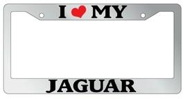 Chrome Metal License Plate Frame I Heart My Jaguar Auto Accessory 1641 - $11.84
