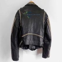 Customized Men's Black Rock Brando Punk Biker Golden Studded Pure Leather Jacket image 2