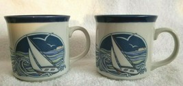 Two OTAGIRI Japan SAILBOAT Coffee Cups Mugs Vintage Mid Century - $19.99