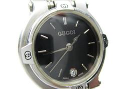 Auth GUCCI 9100L Black Dial, Date Stainless Steel Quartz Women's Watch G... - $258.75 CAD