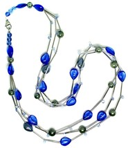"""NECKLACE MULTI WIRES TUBE BLUE DROP SPHERE PETALS MURANO GLASS 90cm 35.4"""" LONG image 2"""