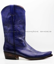 Handmade Men's Genuine Blue Leather Farefoot Stitching Texas Legacy Cowboy Boots