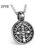 Edict medal pendant necklace men 316l stainless steel never fade catholic church cross thumbtall
