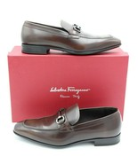 NIB Salvatore Ferragamo Dinamo Brown Leather Gancini Bit Leather Loafers... - $345.00