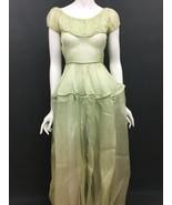 Antique Victorian Petticoat Slip Dress Green Sheer Western Bustle RARE C... - $189.99