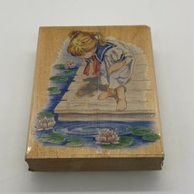 Stamps Happen, Girl at Pond On Dock With Water Lillies, Wood Mount Rubber Stamp - $7.08