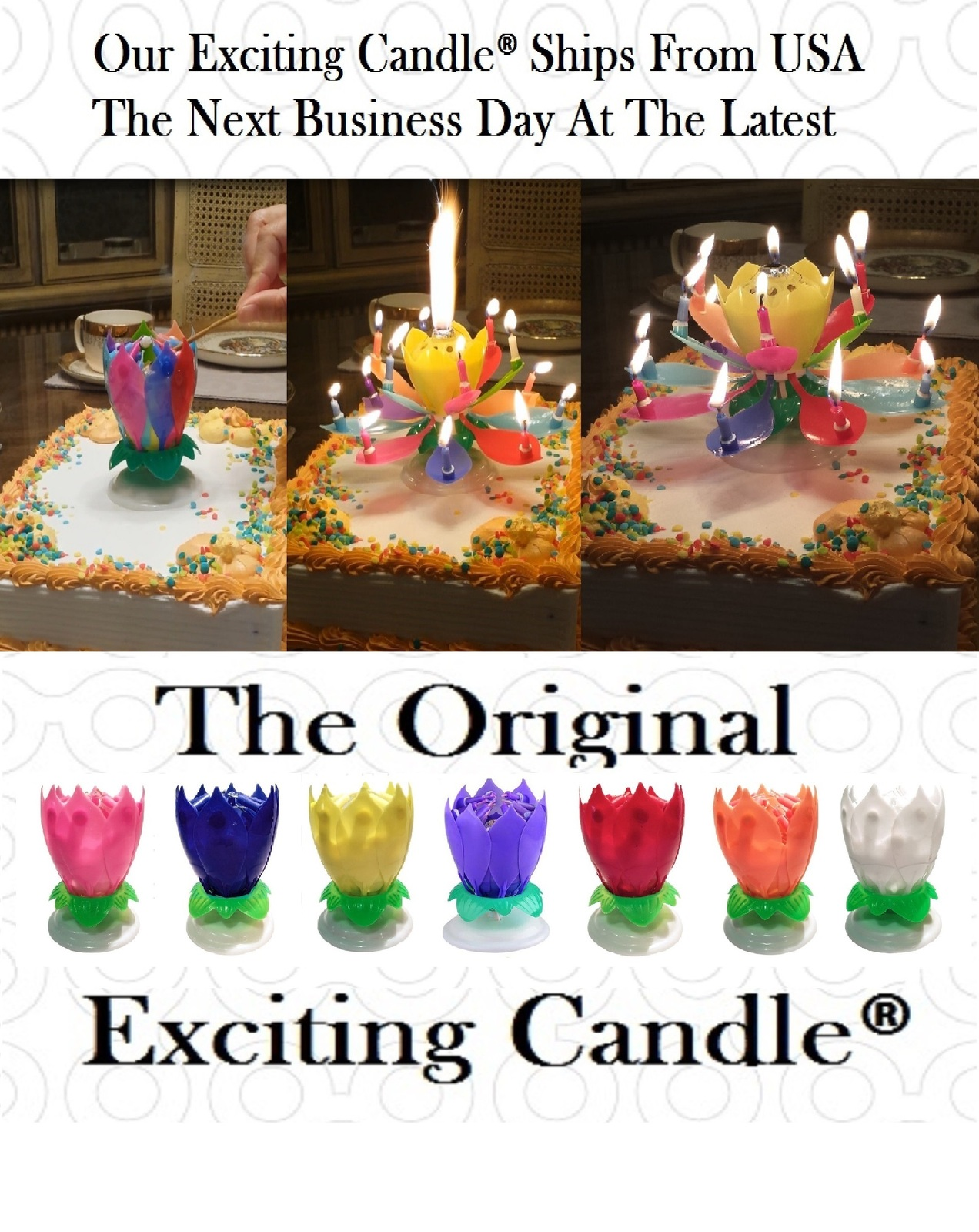 1 Rainbow + 1 Black  Amazing Lotus Flower Music Happy Birthday EXCITING CANDLE