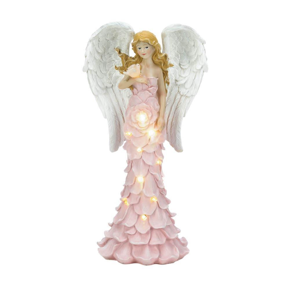 PINK ROSE Garden Angel Statue Solar Powered
