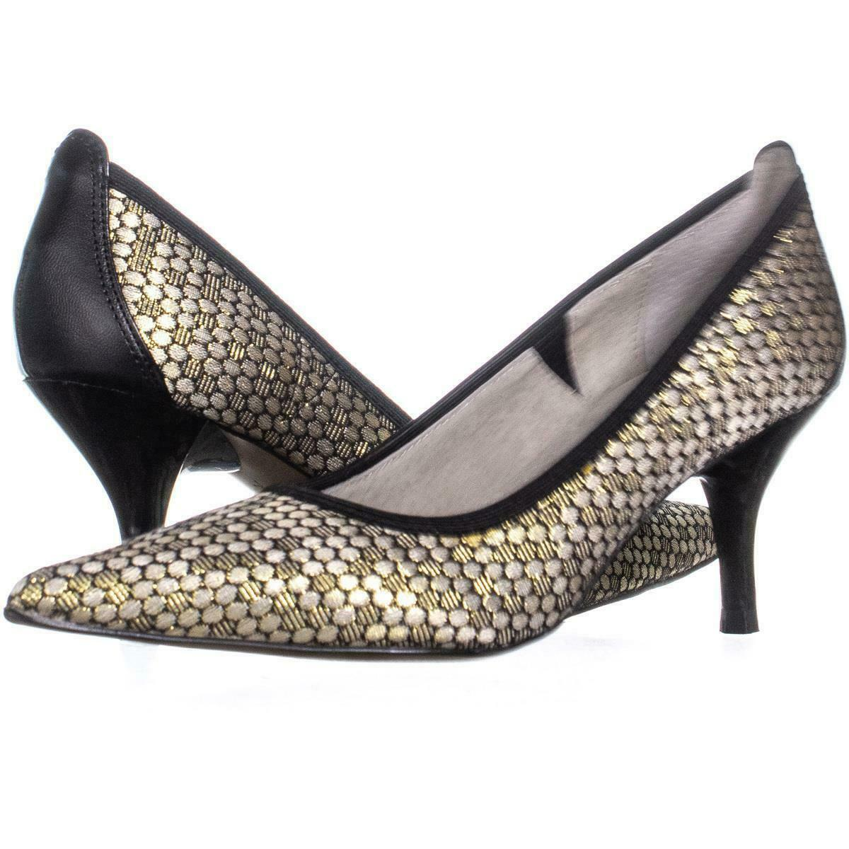 Primary image for Tahari Dottie Pointed-Toe Medium-Heel Pumps 991, Oro/Black, 5 US