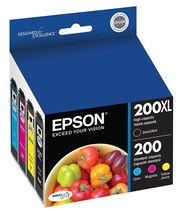 Epson 200xl 200 High Yield Black & Standard Color Ink Cartridges - BUB: 02/2020 - $32.68
