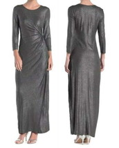 Spense Foil Side Knot Maxi Dress Small 2 4 Shimmering Heather Charcoal G... - $63.79