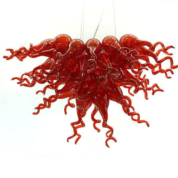 Stunning Red Hand Blown Glass  Artsy Chandelier.35''W