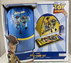 Disney Pixar Toy Story 4 Fun Camp 4 piece Kit Tent Sleeping Bag Flashlig... - $49.38