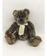 "Gray Brown Teddy Bear TY Winthrop 15"" Long Hair Yellow Ribbon Sitting - $17.63"