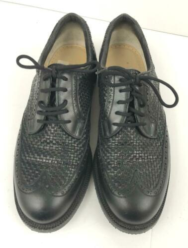 Men's WALTER GENUIN Black Leather Woven Golf Shoes Size 8 US