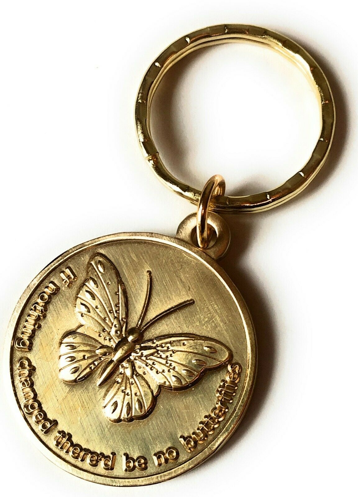 Primary image for If Nothing Changed There'd Be No Butterflies Keychain Serenity Prayer Key Tag AA