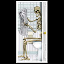 Fun Gothic SKELETON TOILET BATHROOM SHOWER DOOR COVER Halloween Party De... - $7.32