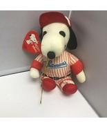Peanuts Snoopy Whitman's #1 Baseball Player Red Stripes Uniform Dog Smal... - $29.99