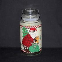 Debbie Mumm SANTA Clear Glass Jar Canister w/ Lid & Seal Anchor Hocking ... - $17.99