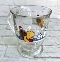 Disney Winnie The Pooh Glass Pedestal Mug Winter Holiday Snow Anchor Hocking - $9.89
