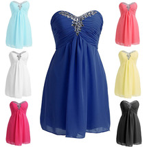 Royal Blue Chiffon Short Bridesmaid Dresses Beaded Wedding Cocktail Dres... - $85.00