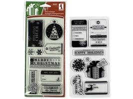 Inkadinkado Tags & Wishes Clear Double Stamp Set - 17 pieces #99499
