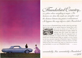 Vintage 1961 Two Page Holiday Magazine Ad Thunderbird Country Unmistakably New - $5.93