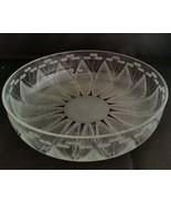 STUDIO SIGNED ETCHED Cut Crystal ART GLASS Floral BOWL Center Serving Piece - $222.75
