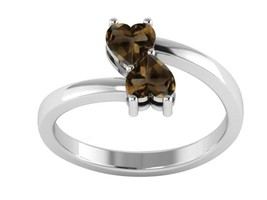 Double Heart Shape Smoky Quartz Gemstone 925 Sterling Silver Stacking Ring - $17.33