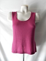 Sz S M Ellen Tracy Silk & Cashmere Pink Sleeveless Shirt Blouse Top Cami... - $27.43