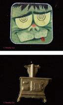 Frankenstein Monster Winking Badge Old Fashioned Stove - $14.99