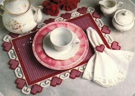 6 Plastic Canvas Placemats Valentine Hearts Ribbons Bows Lace Flower Pat... - $13.99