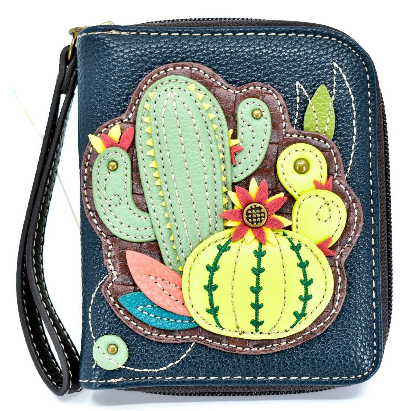 Chala Handbags Faux Leather Catcus Cacti Navy Zip Around Wristlet Wallet
