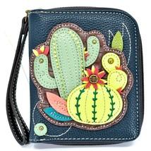 Chala Handbags Faux Leather Catcus Cacti Navy Zip Around Wristlet Wallet image 1