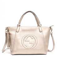 be7b56579 Auth Gucci Soho Tote Silver Leather PVC Inner Pocket Logo Adjustable Strap  G357 - $1,449.36