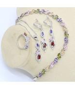 Multicolor Rainbow Zircon 925 Silver Jewelry Set for Women with Bracelet... - $29.99