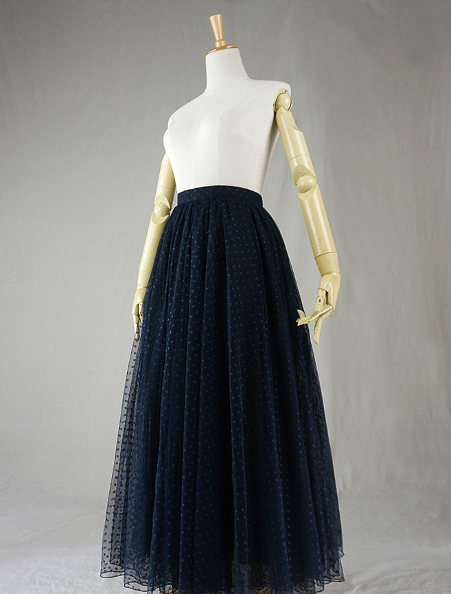 Navy black dot tulle skirt 2