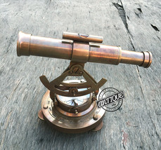 Solid Brass Theodolite Survey Alidade & Telescope Compass Instrument Xma... - $43.54