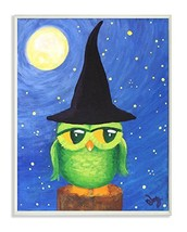 Stupell Home Décor Owl In A Wizards Hat Sitting On A Log Rectangle Wall ... - $25.88