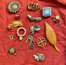 Lot of brooches Pins Sterling Signed Mexico Mexican Danish Wood Sunflower MMA  - $46.56