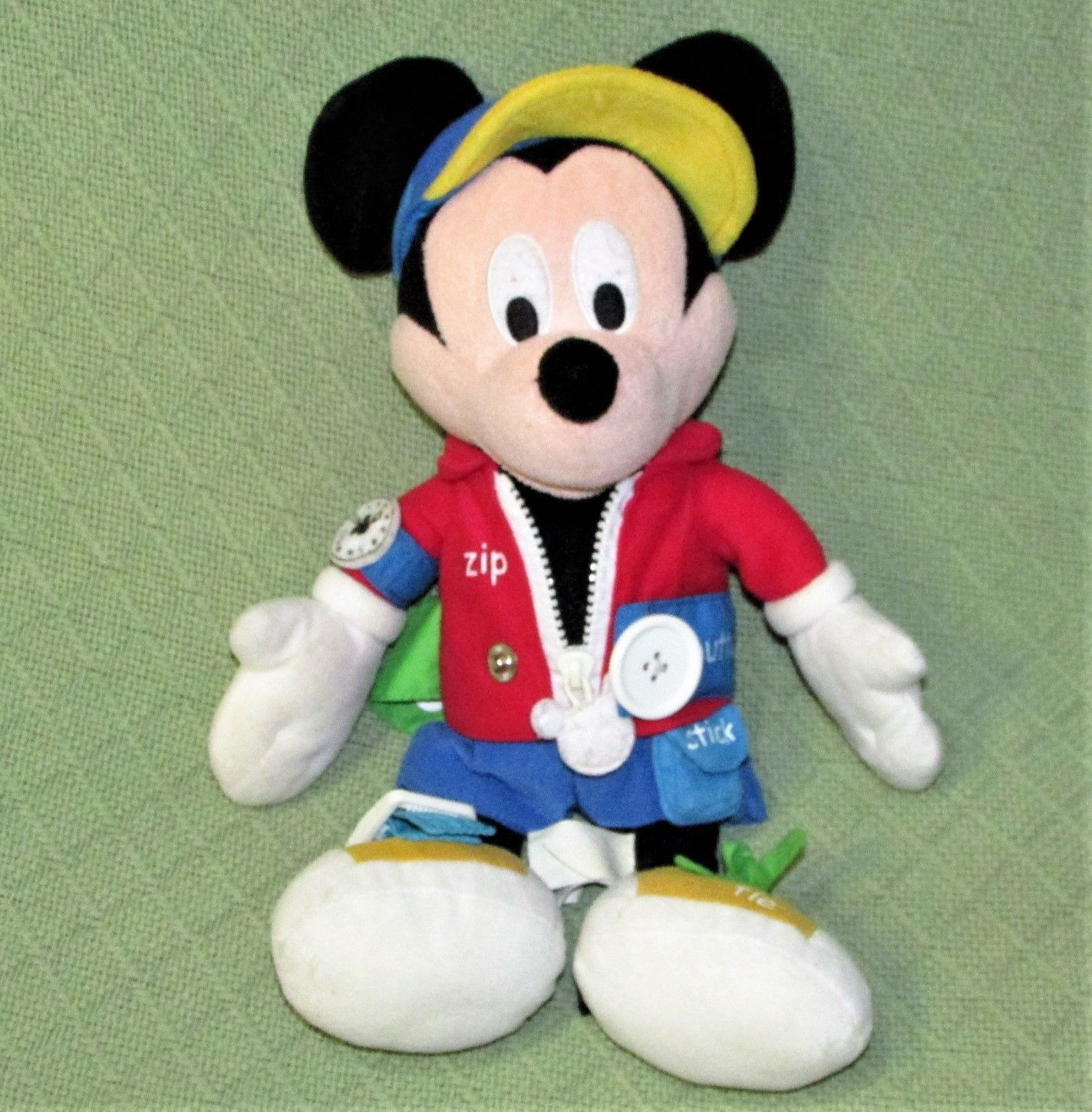 "Learn To Dress TALKING MICKEY MOUSE 15"" Plush Stuffed Doll DISNEY Tie Zip Lace++ image 1"