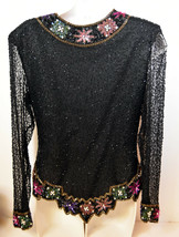 Vintage Lawrence Kazar Ladies Women Blouse Top Beads Sequins Size M Made... - $66.49