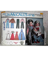 McCalls 4716 Pattern Doll Boy and Girl Clothes Bicentennial Costume Size... - $10.00