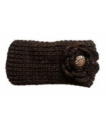 Wholesale Lot 4 Brown Flower Crystal Button Headband Ear Warmers - £7.60 GBP