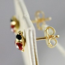 18K YELLOW GOLD EARRINGS MINI 5MM GLAZED LADYBIRD LADYBUG FOR KIDS MADE IN ITALY image 2