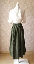 Women Army Green Linen Cotton Skirt Loose Linen Clothes Long Asymmetrical Skirts image 2